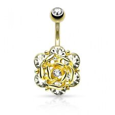 flower 6 gem Piercing navel gold plated