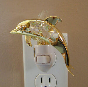 """Made with SWAROVSKI CRYSTAL ELEMENTS """"DOLPHIN""""  NIGHT LIGHT 24KT GOLD PLATED"""