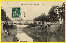 cpa 10 - MERY sur SEINE (Aube) Le CANAL et la PASSERELLE Pêcheurs à la Ligne