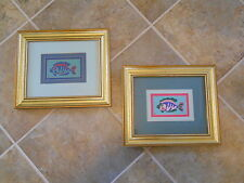 PAIR OF GOLD WOOD FRAMED MATTED STITCHED FISH TRAPUNTO PICTURES