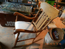 ANTIQUE ? NATURAL OAK ROCKING CHAIR REFINISHED ADD YOUR DESIGNER MATERIAL READY