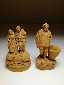 2 x Louis Alphonse Hanne, L'Isle Adam, Terracotta Fishermen *Circa 1900* Signed