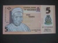 NIGERIA 2009 POLYMER ISSUE-5 NAIRA P38 DATED 2015 7 NUMBER SERIAL-EXCELLENT UNC