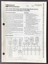 National Semiconductor - Hpc16400 36400 micro Controller Hdlc Data Sheet 1988