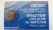 Sr927sw/395 Seiko Watch Battery Made in Japan Silver Oxide 1.55v