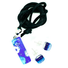Murano Glass Pendant and Earrings Set Blue White Millefiori Rectangle Venice