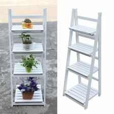 4 Tier Ladder Shelf Display Unit Free Standing Folding Book Stand jx
