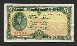 Ireland 1 One Pound 1975 Bank Note World Paper Money Eire Lady Lavery Punt
