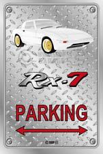 Parking Sign Metal Mazda RX7 Series 1 White with Gold Rims - Checkerplate Look