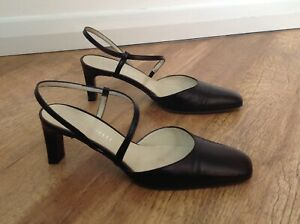 Ladies Black Leather Shoes.UK size 4.5 (37.5) Made in Italy By MEO CARELLI