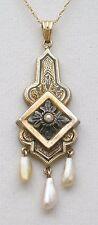 Antique 1800s 10k/14k Yellow Gold Lavalier Pendant Necklace