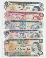 1970s Set of 5 Canada Bank Notes - $1-$2-$5-$10-$20 - NICE