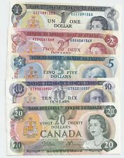 1970s Set of 5 Bank of Canada Notes - $1-$2-$5-$10-$20 - NICE