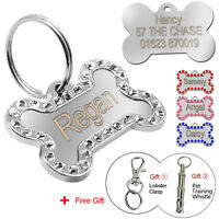 Bling Bone Personalised Pet Dog Tags Free Engraving Cat ID Tag Stainless Steel