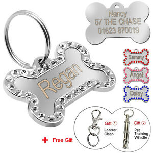 Custom Dog Tags Bling Rhinestone Personalized Pet Cat ID Collar Necklace Tags