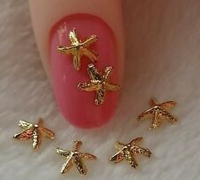 10 x 3D Gold Alloy Nail Art Starfish Charm Decorations (K2)