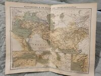 Map - Alexander the Great's Empire - Antique Book Page - c.1885 - German Text