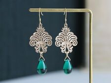 teardrop earrings jewellery gift for her Gold plated filigree cut out Green