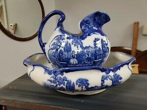 Antique TM Staffshire Chamber Set Basin, Pitcher,Bowl Flo Blue Romantic England