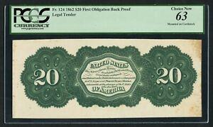 FR124 $20 1862 BACK PROOF LEGAL TENDER PCGS 63 CHOICE UNC VERY RARE WLM9464