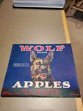 Original 1940 Wolf Brand Apple Box Label Wenatchee Washington H.S.Wolfe Wavy