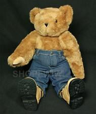"Vintage 17"" Vermont Teddy Bear Brown Teddy With Jeans And Hiking Boots"