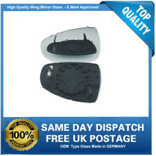 Wing Mirror Glass Audi A1 (2011 to 2014) , replacement heated, clip on left Side