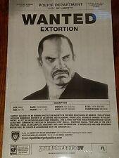 Rockstar Games Grand Theft Auto IV  Vladimir Glebov Wanted Poster (17x11) *RARE*