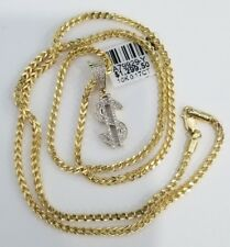 10k Yellow Gold $ Money Sign Pave Pendant Charm Diamond 20 Inch Franco Chain