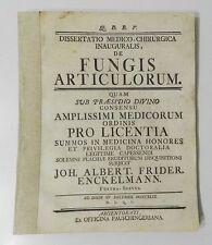 ** RARE : DE FUNGIS ARTICULORUM PAR J. A. F. ENCKELMANN - EDITION ORIGINALE 1749