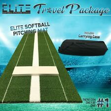 The Elite - Softball Pitching Mat 3x10 - Travel Package - with Carrying Case