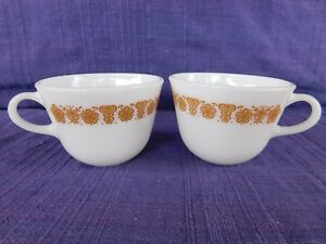 PAIR of Corelle Butterfly Gold PYREX COFFEE CUPs SET of TWO (2) have more items