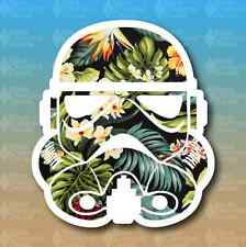 """Storm Trooper Hawaii'n Flower Print Tropical 3"""" Euro Custom Vinyl Decal Sticker"""