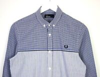 Fred Perry Mens Long Sleeve Button Down Blue Check Pattern Shirt 100% Cotton - S