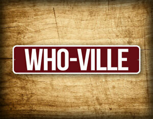 """WHO-VILLE 4""""x18"""" Cute Red Holiday Wall Decoration Sign Whoville Street Sign"""
