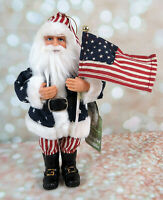 Patriotic Santa Claus Christmas Ornament Flag Red White Blue Santas Workshop