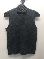 VTG Smart Set Canada Women Cable Knit Vest Gray 100% Wool Shetland