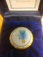"Rare Halcyon Days Winnie the Pooh ""Just Floating Along� Blue Balloon Enamel Box"