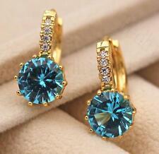18K Gold Filled - 9mm Round Blue Topaz Flower Zircon Gems Hoop Women Earrings DS