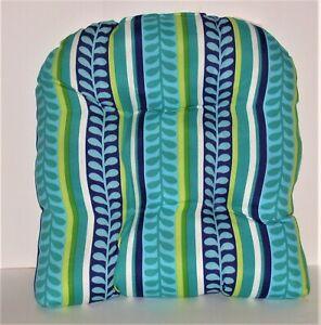 "Resort Spa Outdoor Wicker Seat Pad ~ Leaf Stripe ~ 18.5"" x 20.5"" x 4.5"" NEW"
