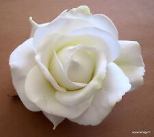 """4"""" Ivory White Real Touch Rose,Poly Silk Flower Hair Clip,Bridal,Pin Up,Updo,Hat"""