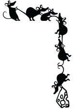 Adorable Cheese Thieves Climbing Rat Decal Whimsical Vinyl Wall Sticker Mouse