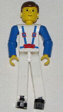 LEGO TECHNIC FIGURE BLUE SUSPENDERS WHITE PANTS RACE CAR DRIVER MINIFIG PERSON