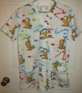 Garfield Women's White All Over Print Nurse Scrub Top by Cherokee Size XS