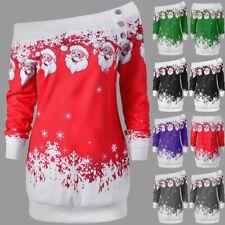 UK Womens Ladies Christmas Jumper Dress Xmas Santa Claus Long Sleeve Tops Blouse