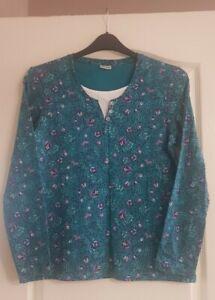 Damart Ladies Top size 10/12 - Turquoise Floral