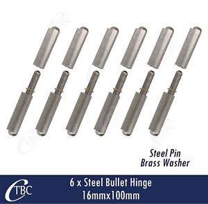 6x Steel Bullet Hinge Steel Pin 16mm x 100mm Weld  Door Trailer Tailgate Toolbox