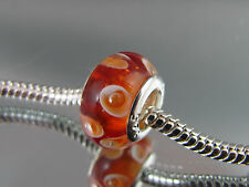 925 SILVER STAMPED MURANO GLASS BEAD FOR EUROPEAN STYLE CHARM BRACELETS #DC 102
