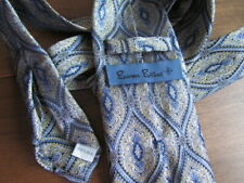 Seven Fold Burma Bibas Silk Tie Woven Paisley Blue Navy Yellow Ivory Excellent