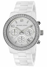 Michael Kors MK5188 Runway crystal glitz ceramic white women's watch U.S Seller